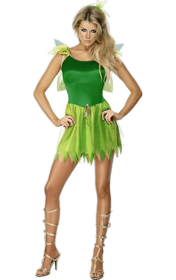 Womens Green Woodland Fairy Princess Fairytale Fancy Dress Costume
