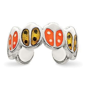 925 plata de ley sólida rojo y naranja esmaltado ladybug toe anillo joyería regalos para las mujeres