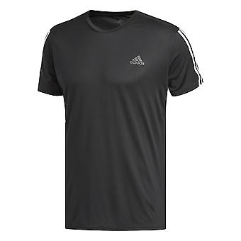 adidas Running 3-Stripe Mens Sport Fitness Training T-Shirt Tee Black/White