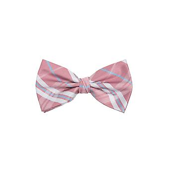 Dobell Mens Pink Tartan Jacquard Bow Tie Pre-Tied