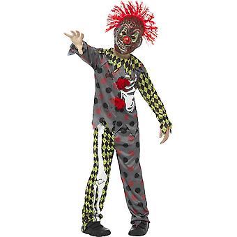 Deluxe vridd Clown drakt, multi farget, med topp, bukser & EVA maske med hår