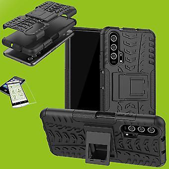 Für Huawei Honor 20 / Nova 5T / Honor 20 Pro Hybrid Case 2teilig Schwarz + Hartglas Tasche Hülle Cover Hülle