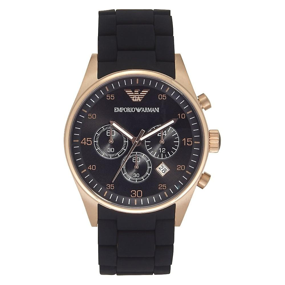 Armani Watches Black And Rose Gold Mens Chronograph Watch Ar5905