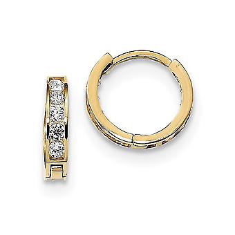 14k Madi K Round Square CZ Cubic Zirconia Simulated Diamond Reversible Hinged Hoop Earrings Measures 12.09x12.63mm Wide