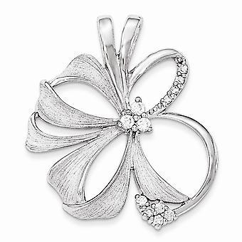 925 Sterling Argent Poli et Satin Flower CZ Cubic Zirconia Simulated Diamond Slide Bijoux Cadeaux pour les femmes