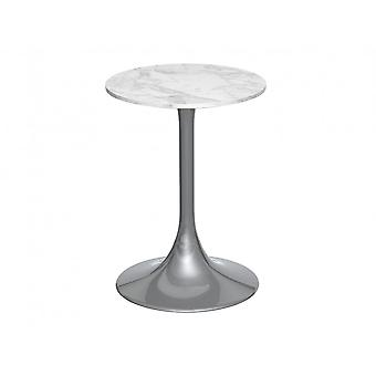 Gillmore Pedestal Side Table White Marble And Smoked Chrome