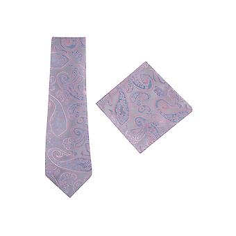 JSS Silver Paisley Tie And Pocket Square Set