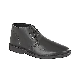 Roamers Black Leather 2 Eye Desert Boot Check Textile Lining Tpr Sole