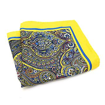 Yellow & blue oreintal pattern 33cm men's pocket square