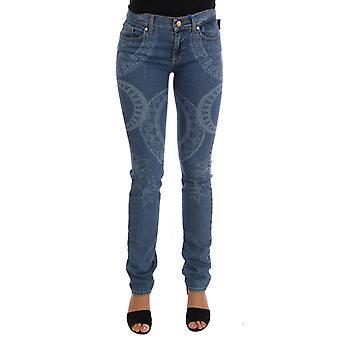 Versace Jeans Blue Wash Print Stretch Slim Fit Jeans