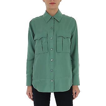 Equipment 195006437tp03406 Women's Green Cotton Shirt