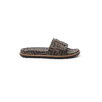 Fendi 7x1148a3yof1425 Men's Brown/black Polyurethane Sandals