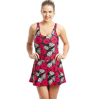 Camille Black kjolar baddräkt med röd och svart blomtryck