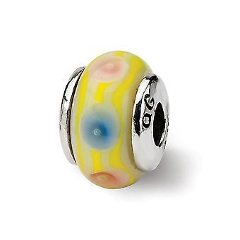 925 Sterling Silver Polerad finish Reflektioner Kids Pink Murano Glas Pärla Charm Hängande Halsband Smycken Gåvor för WOM
