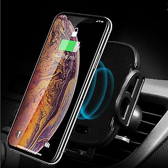 Universal infrared sensor auto lock qi wireless charging car phone holder for iphone 8 xs s8 s9