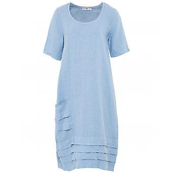 Blueberry Italia Linen Pleated Hem Dress