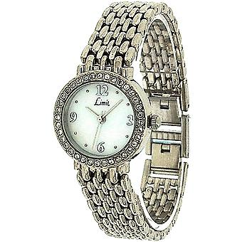 Limit Ladies Stone Set Bezel Mother Of Pearl Dial Silver Bracelet Watch 6746