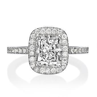 1.65 Carat F SI2 Diamond Engagement Ring 14K White Gold Halo Vintage Radian