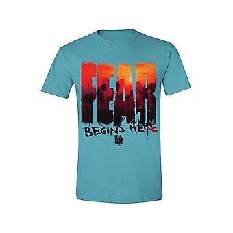 Fear The Walking Dead - Fear L.a. Skyline Men's T-Shirt - Blue