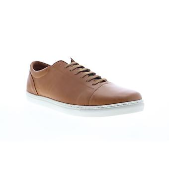 Robert Wayne Dary  Mens Brown Leather Lace Up Low Top Sneakers Shoes