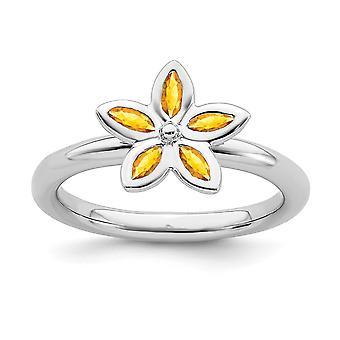925 Sterling Sølv Ramme Polert Stables Uttrykk Citrine Flower Ring Smykker Gaver Til Kvinner - Ring Størrelse: 5 til 1
