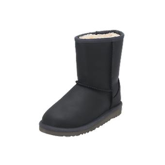 UGG Classic Short Leather Kids Girls Boots Black Lace-Up Boots