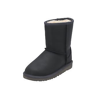 UGG الكلاسيكية الجلود القصيرة أطفال الفتيات الأحذية الأسود الدانتيل متابعة الأحذية