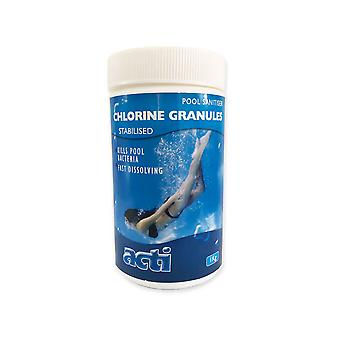 acti 1kg chlorine granules stabilised pool sanitiser spa & pool chemicals
