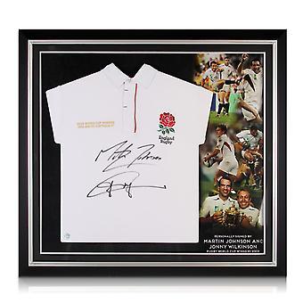 Jonny Wilkinson og Martin Johnson underskrevet England Rugby Shirt Premium Frame