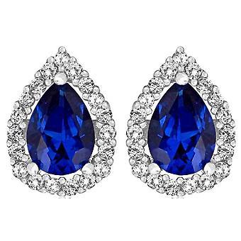 KJ Beckett Cubic Zirconia syntetisk spinell örhängen - Silver/blå