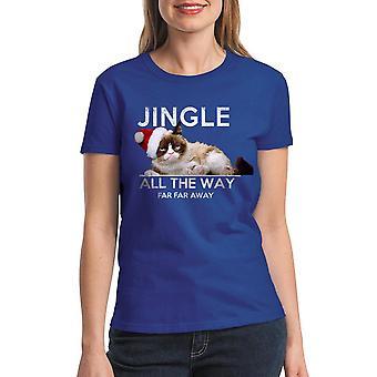 Grumpy Cat Jingle Far Away Women's Royal Blue Funny T-shirt