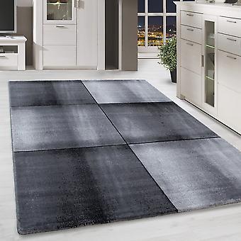 Cour de tapis de tapis de salle de séjour courtflor coureur modelé gris noir marbré