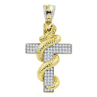 925 sterling silver Micro Pave pendant - SNAKE CROSS gold