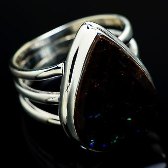 Ammolite Ring Size 7.25 (925 Sterling Silver)  - Handmade Boho Vintage Jewelry RING7611