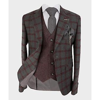 Boys Tailored fit Windowpane Check Tweed Suit in Grey & Burgundy