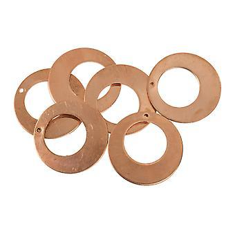 Kupfer Blanks Runde Drop Pack von 6 25mm X 1mm Ausgeschnitten