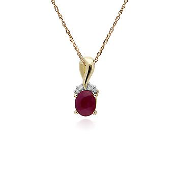 Classic Oval Ruby & Diamond Twisted Bale Pendant Necklace in 9ct Yellow Gold 135P1898019