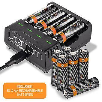 Recarga de energia venenosa - estação de carregamento mais 10 x aa 1000mah baterias recarregáveis