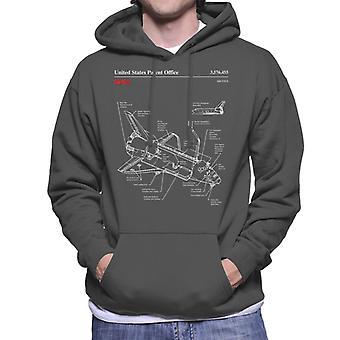 NASA Space Shuttle Blueprint Herren Sweatshirt mit Kapuze