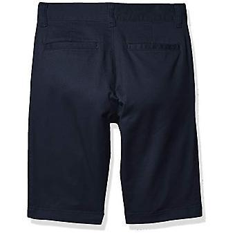 Essentials Boy's Flat Front Uniform Chino Short, Navy Blue, 6(S)