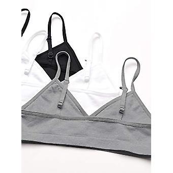 Essentials Girls' 3-Pack Nahtloses Training BH, grau Heather/White/Black