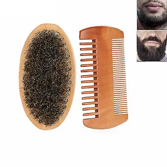 Wood Mustache Oval Men Beard Barba Brush And Comb Facial - Beard Hair Set