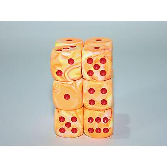 Chessex Chessex 16mm D6 x 12 Dice Set - Festive Sunburst / red