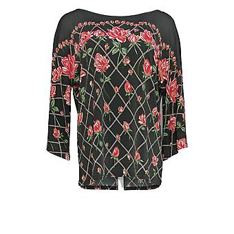 Bob Mackie Women's Rose Trellis Print Knit Top Gray A352097