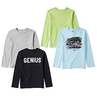 Marke - Spotted Zebra Boys' Big Kid 4-Pack Langarm T-Shirts, Geniu...