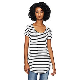 Brand - Daily Ritual Women's Jersey Short-Sleeve Scoop-Neck Longline T-Shirt, White-Navy Stripe, Small