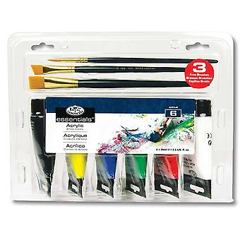 Royal & Langnickel Artist Acrylic Paint 6 x 75ml Set with Brushes
