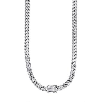 925 Sterling Silver Mens CZ Cubic Zirconia Simulated Diamond Miami Curb Chain 6.5mm 22 Inch Jewelry Gifts for Men