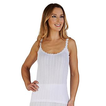 Slenderella UW400 Women's White Brushed Cotton Thermal Camisole Top