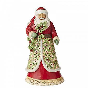 Jim Shore Heartwood Creek Santa Met Holly - Holly Jolly Holiday Beeldje